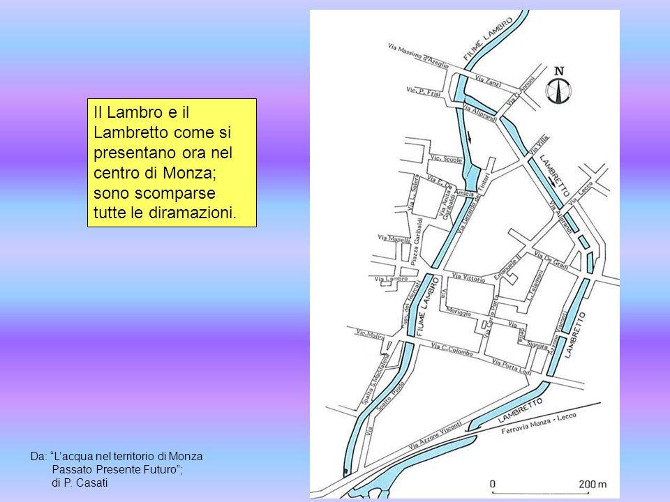 """Il Lambro e il Lambretto come si presentano ora nel centro di Monza; sono scomparse tutte le diramazioni. Da: """"L'acqua nel territorio di Monza Passato"""