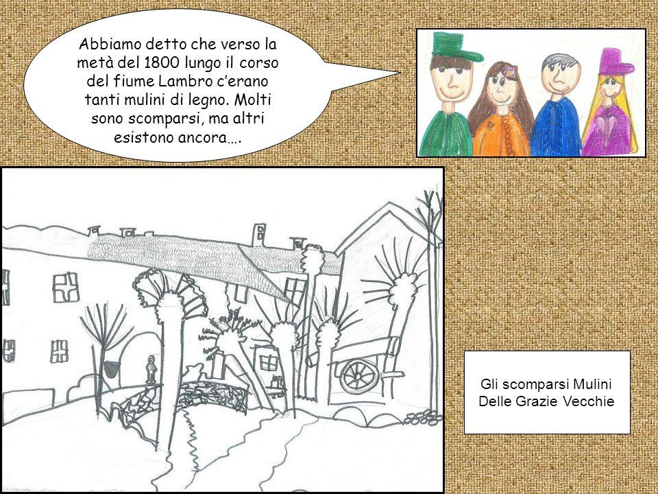 Gli scomparsi Mulini Delle Grazie Vecchie Abbiamo detto che verso la metà del 1800 lungo il corso del fiume Lambro c'erano tanti mulini di legno. Molt