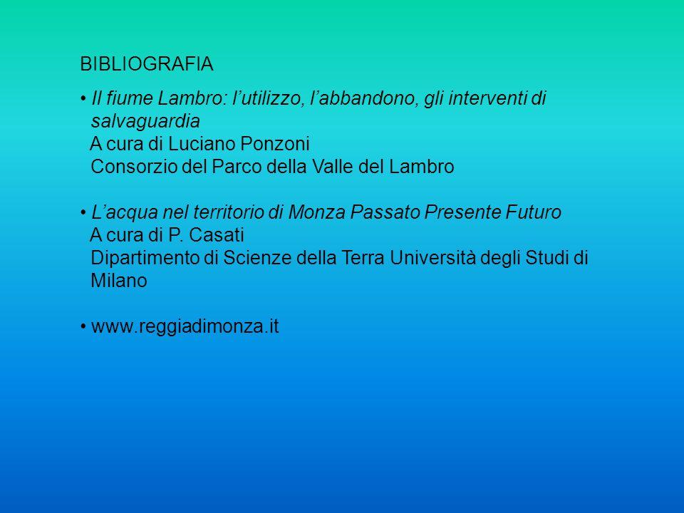 BIBLIOGRAFIA Il fiume Lambro: l'utilizzo, l'abbandono, gli interventi di salvaguardia A cura di Luciano Ponzoni Consorzio del Parco della Valle del La