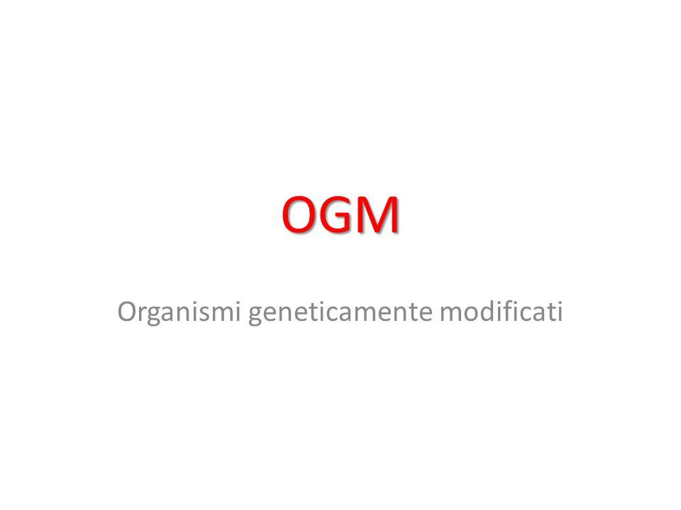 Nozione Gli OGM sono organismi viventi il cui patrimonio genetico è stato modificato stabilmente mediante l'inserzione di geni (porzioni di DNA) provenienti da altri organismi, allo scopo di sviluppare in essi nuove funzioni o far produrre sostanze nuove.