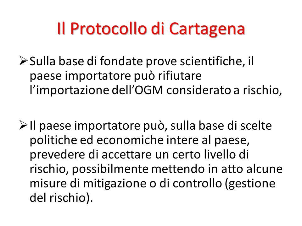 Il Protocollo di Cartagena  Sulla base di fondate prove scientifiche, il paese importatore può rifiutare l'importazione dell'OGM considerato a rischi