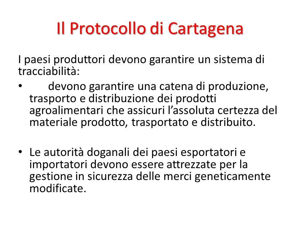 Il Protocollo di Cartagena I paesi produttori devono garantire un sistema di tracciabilità: devono garantire una catena di produzione, trasporto e dis