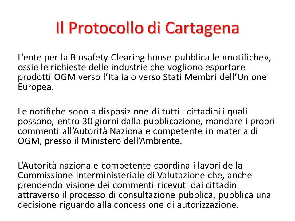 Il Protocollo di Cartagena L'ente per la Biosafety Clearing house pubblica le «notifiche», ossie le richieste delle industrie che vogliono esportare p