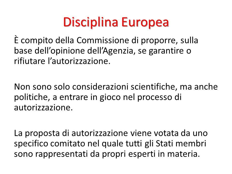 Disciplina Europea È compito della Commissione di proporre, sulla base dell'opinione dell'Agenzia, se garantire o rifiutare l'autorizzazione. Non sono