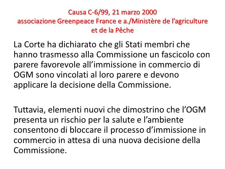 Causa C-6/99, 21 marzo 2000 associazione Greenpeace France e a./Ministère de l'agriculture et de la Pêche La Corte ha dichiarato che gli Stati membri