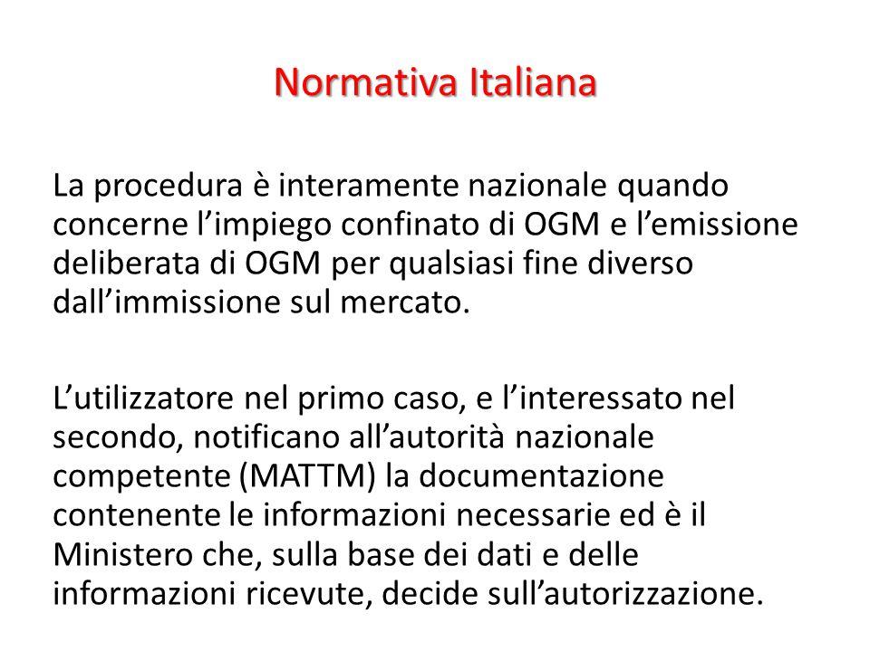 Normativa Italiana La procedura è interamente nazionale quando concerne l'impiego confinato di OGM e l'emissione deliberata di OGM per qualsiasi fine