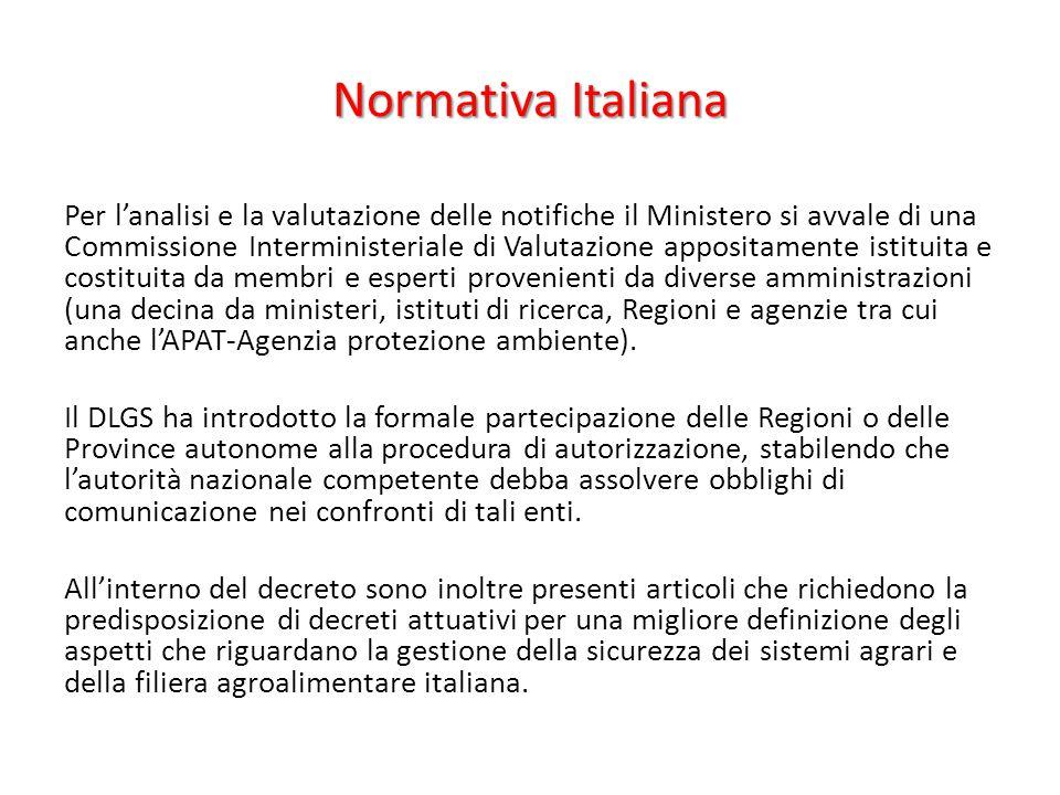 Normativa Italiana Per l'analisi e la valutazione delle notifiche il Ministero si avvale di una Commissione Interministeriale di Valutazione appositam