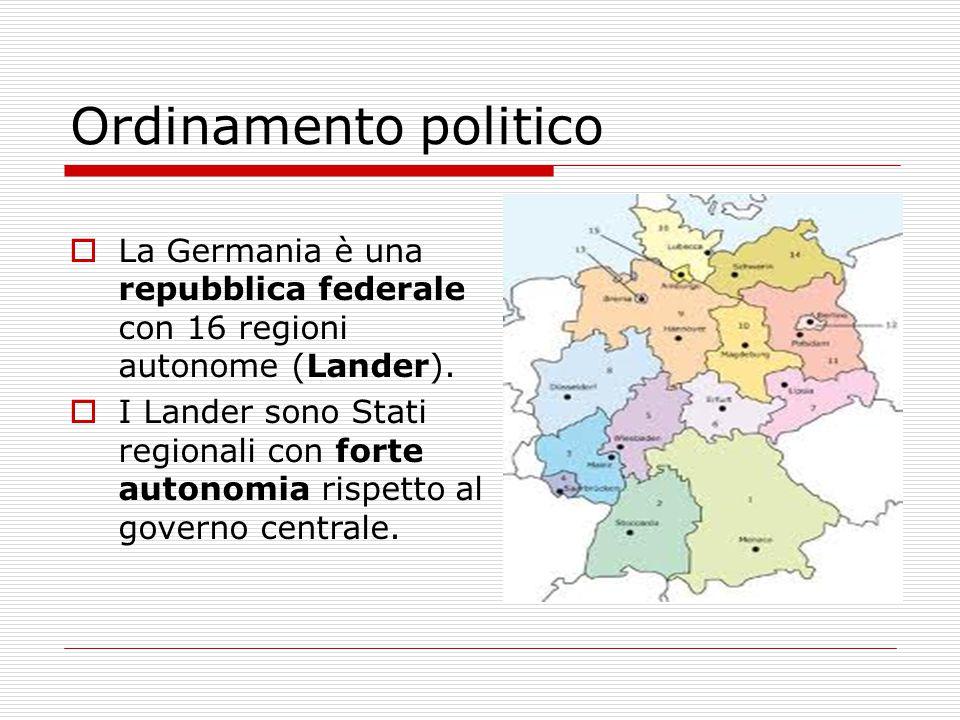  La Germania è una repubblica federale con 16 regioni autonome (Lander).  I Lander sono Stati regionali con forte autonomia rispetto al governo cent
