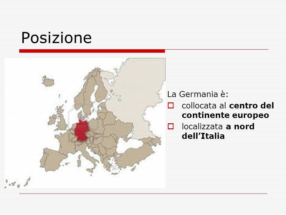 La Germania è:  collocata al centro del continente europeo  localizzata a nord dell'Italia Posizione