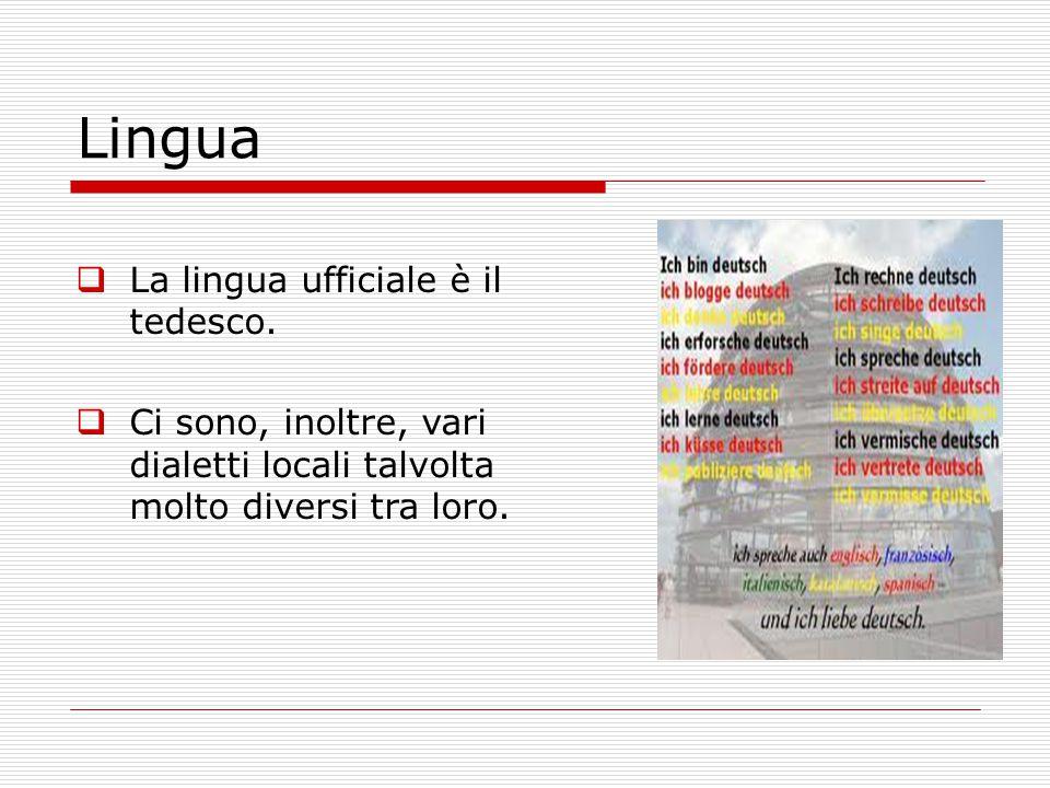  La lingua ufficiale è il tedesco.  Ci sono, inoltre, vari dialetti locali talvolta molto diversi tra loro. Lingua