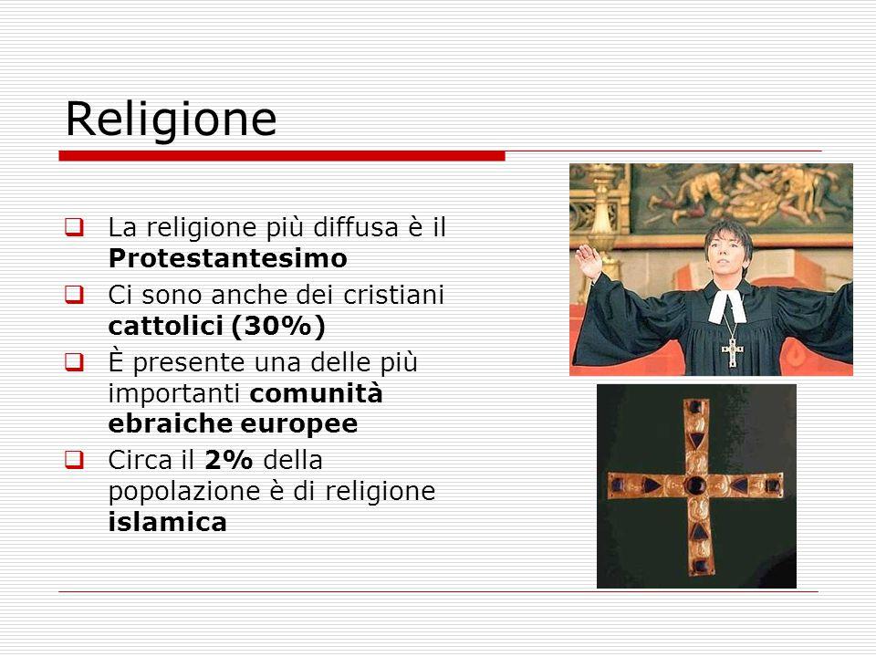  La religione più diffusa è il Protestantesimo  Ci sono anche dei cristiani cattolici (30%)  È presente una delle più importanti comunità ebraiche