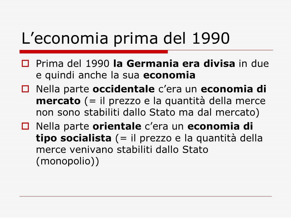  Prima del 1990 la Germania era divisa in due e quindi anche la sua economia  Nella parte occidentale c'era un economia di mercato (= il prezzo e la