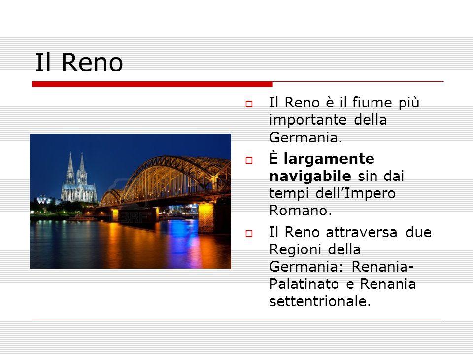  Il Reno è il fiume più importante della Germania.  È largamente navigabile sin dai tempi dell'Impero Romano.  Il Reno attraversa due Regioni della