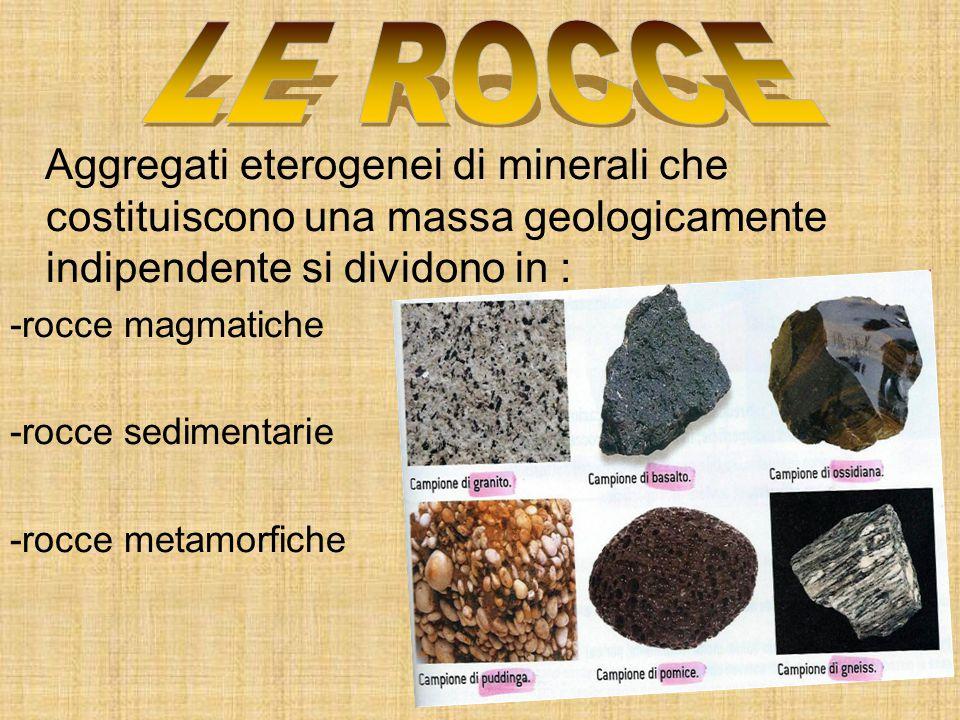 Aggregati eterogenei di minerali che costituiscono una massa geologicamente indipendente si dividono in : -rocce magmatiche -rocce sedimentarie -rocce
