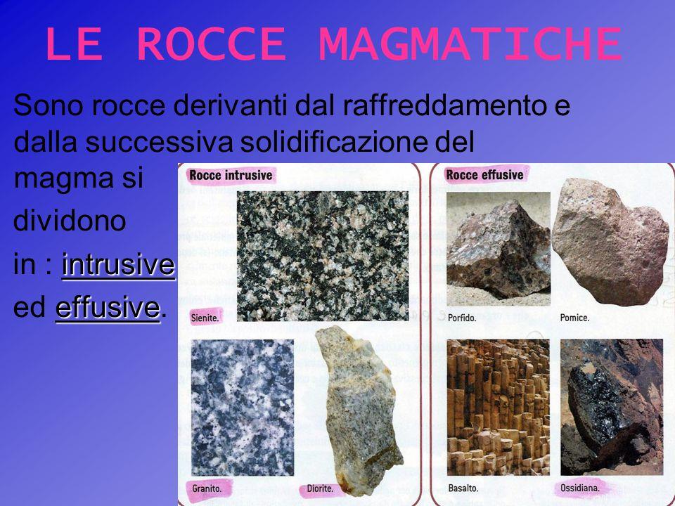 LE ROCCE MAGMATICHE Sono rocce derivanti dal raffreddamento e dalla successiva solidificazione del magma si dividono intrusive in : intrusive effusive