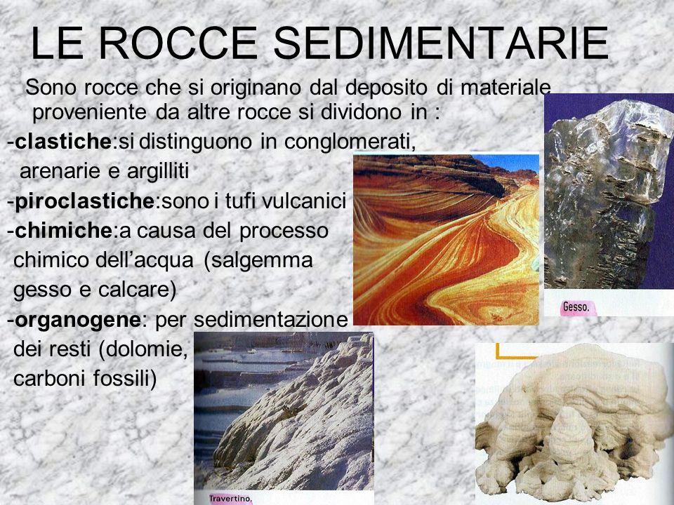 LE ROCCE SEDIMENTARIE Sono rocce che si originano dal deposito di materiale proveniente da altre rocce si dividono in : -clastiche:si distinguono in c