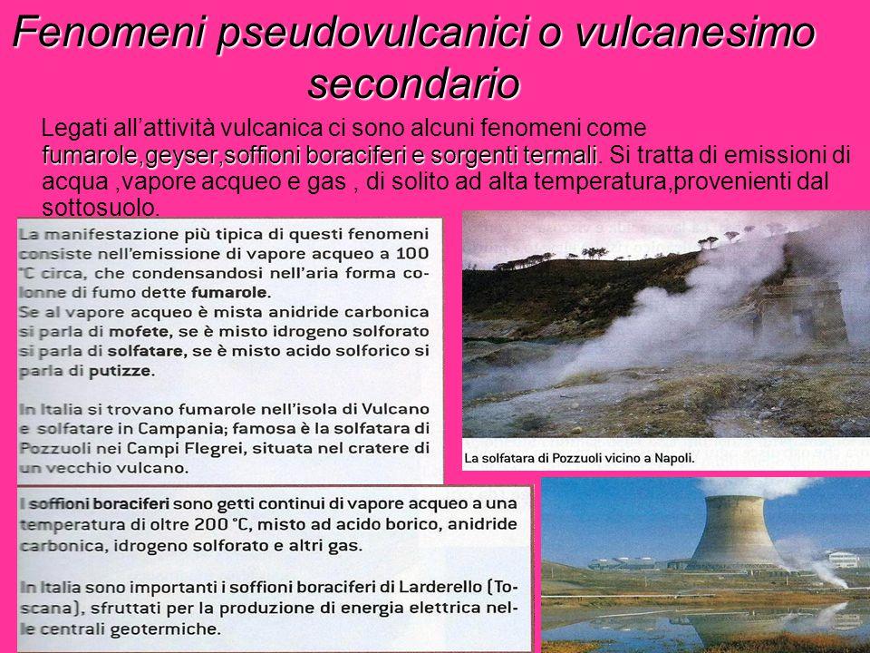 Fenomeni pseudovulcanici o vulcanesimo secondario fumarole,geyser,soffioni boraciferi e sorgenti termali Legati all'attività vulcanica ci sono alcuni