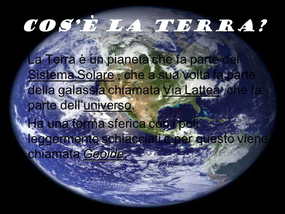Cos'è la terra? La Terra è un pianeta che fa parte del Sistema Solare, che a sua volta fa parte della galassia chiamata Via Lattea,che fa parte dell'u