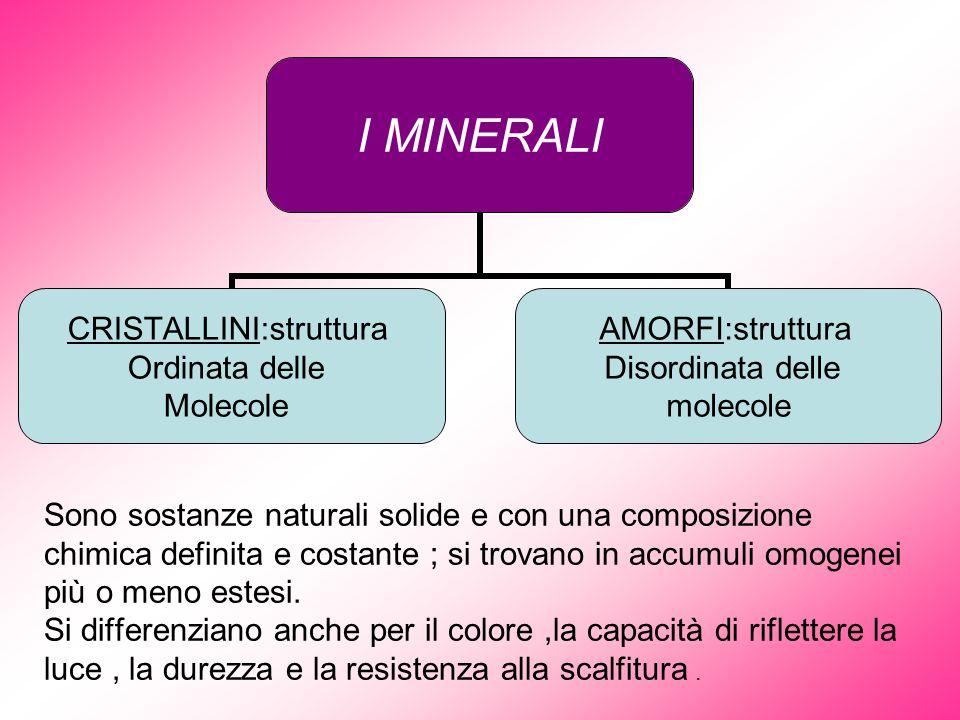 Sono sostanze naturali solide e con una composizione chimica definita e costante ; si trovano in accumuli omogenei più o meno estesi. Si differenziano
