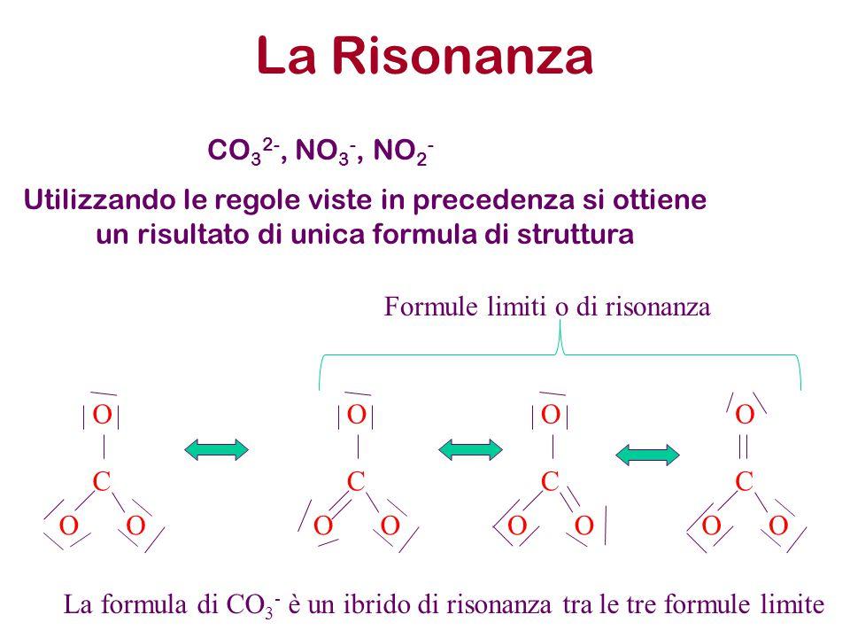 La Risonanza CO 3 2-, NO 3 -, NO 2 - Utilizzando le regole viste in precedenza si ottiene un risultato di unica formula di struttura C OO O C OO O C O