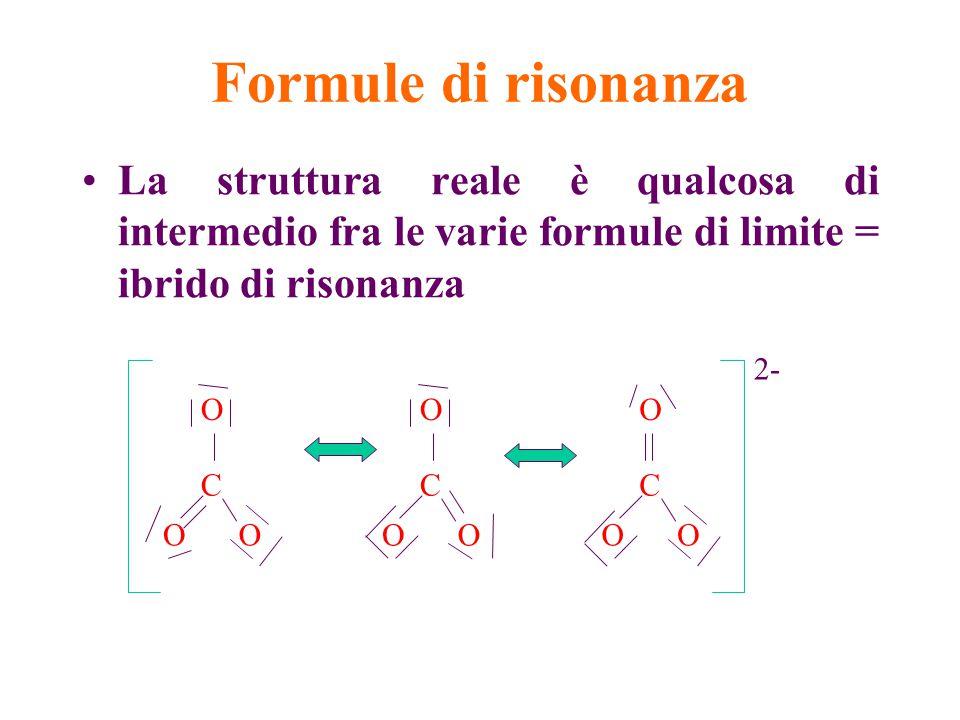 Formule di risonanza La struttura reale è qualcosa di intermedio fra le varie formule di limite = ibrido di risonanza C OO O C OO O C OO O 2-