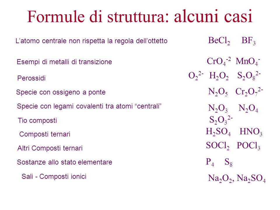 Formule di struttura : alcuni casi L'atomo centrale non rispetta la regola dell'ottetto BeCl 2 BF 3 Esempi di metalli di transizione CrO 4 -2 MnO 4 -