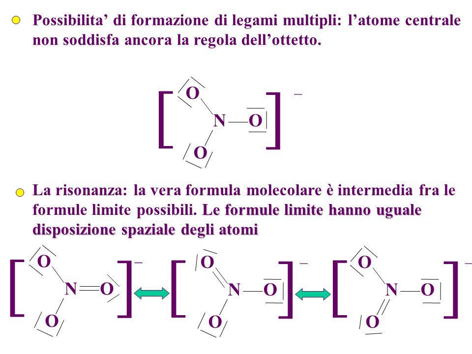 Formule di risonanza Le formule di risonanza sono un insieme di strutture con la stessa disposizione degli atomi (e quindi dei legami  e delle coppie di non legame sull'atomo centrale) ma diversa distribuzione degli altri elettroni (cioè delle coppie di non legame sugli atomi periferici e dei legami  ).