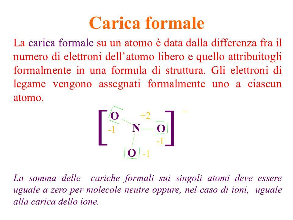 Criteri per la scrittura della formule di struttura 1.Conta gli elettroni e quindi il numero di coppie, considerando la eventuale carica 2.Individua l'atomo centrale (in genere quello meno elettroegativo) 3.Lega gli atomi periferici all'atomo centrale con legami singoli 4.Disponi le coppie di non legame sugli atomi periferici sulla base della regola dell'ottetto 5.Disponi le eventuali coppie rimaste sull'atomo centrale 6.Se intorno all'atomo centrale ci sono meno coppie rispetto alla regola dell'ottetto, TRASFORMARE le coppie di NON legame degli atomi periferici in doppi legami, fino a che anche l'atomo centrale non arriva all'ottetto.