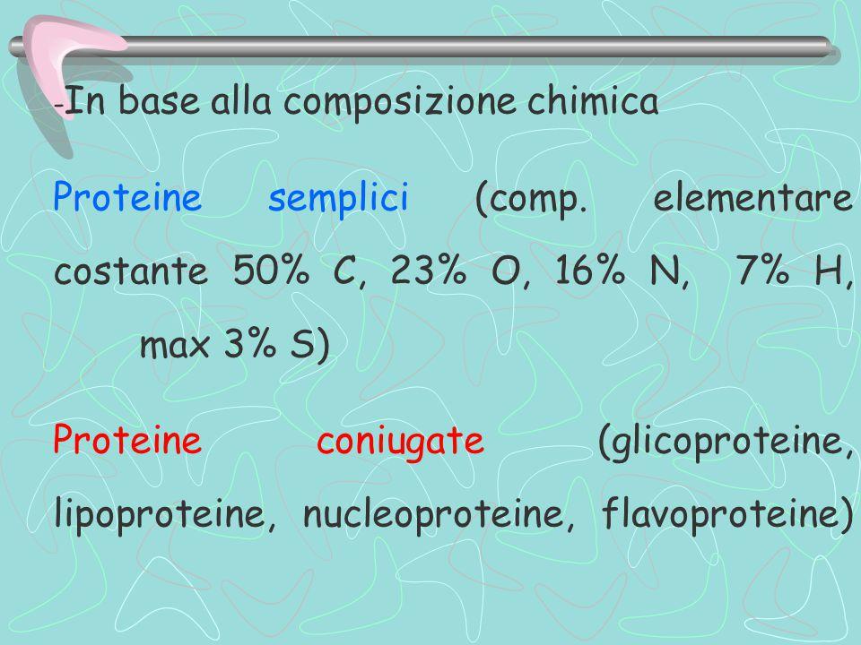 - In base alla composizione chimica Proteine semplici (comp.