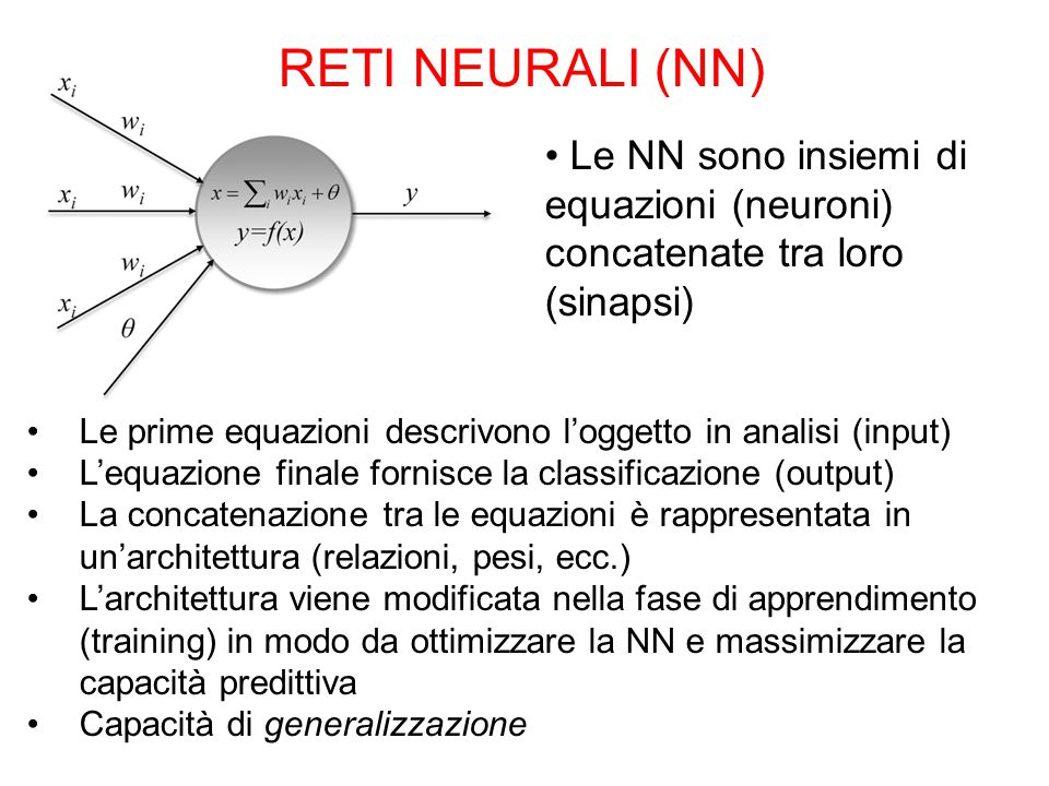 RETI NEURALI (NN) Le NN sono insiemi di equazioni (neuroni) concatenate tra loro (sinapsi) Le prime equazioni descrivono l'oggetto in analisi (input) L'equazione finale fornisce la classificazione (output) La concatenazione tra le equazioni è rappresentata in un'architettura (relazioni, pesi, ecc.) L'architettura viene modificata nella fase di apprendimento (training) in modo da ottimizzare la NN e massimizzare la capacità predittiva Capacità di generalizzazione