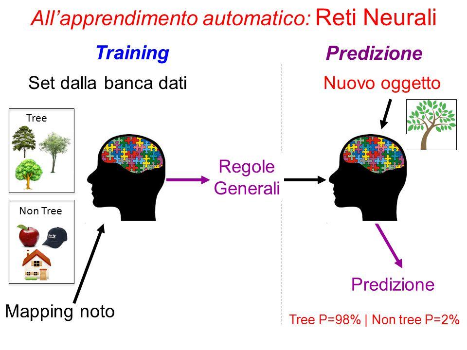 All'apprendimento automatico: Reti Neurali Set dalla banca dati Mapping noto Regole Generali Nuovo oggetto Predizione Training Predizione Tree Non Tree Tree P=98% | Non tree P=2%