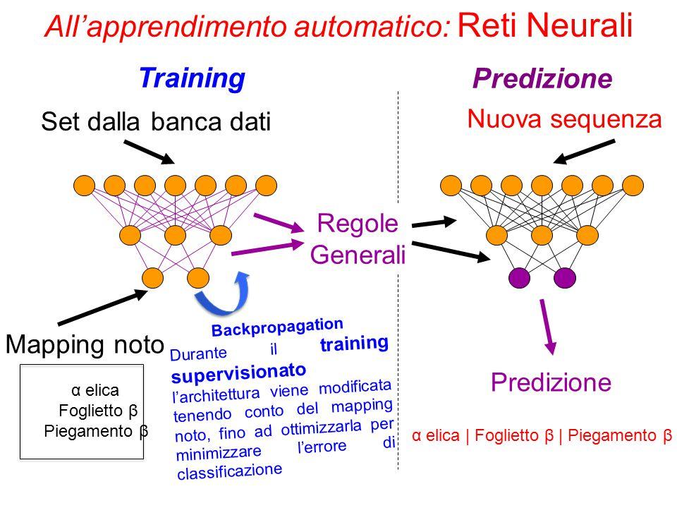 All'apprendimento automatico: Reti Neurali Set dalla banca dati Mapping noto α elica Foglietto β Piegamento β Regole Generali Nuova sequenza Predizion