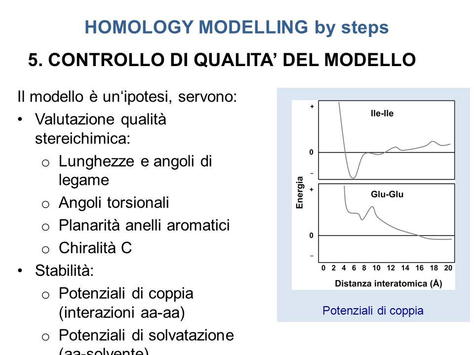 Potenziali di coppia HOMOLOGY MODELLING by steps Il modello è un'ipotesi, servono: Valutazione qualità stereichimica: o Lunghezze e angoli di legame o Angoli torsionali o Planarità anelli aromatici o Chiralità C Stabilità: o Potenziali di coppia (interazioni aa-aa) o Potenziali di solvatazione (aa-solvente) 5.
