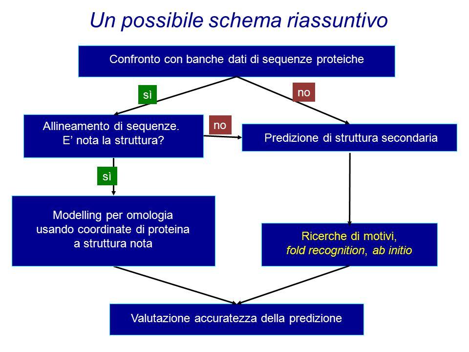 Predizione della struttura terziaria - diagramma di flusso Confronto con banche dati di sequenze proteiche Ricerche di motivi, fold recognition, ab initio Valutazione accuratezza della predizione Modelling per omologia usando coordinate di proteina a struttura nota sì Allineamento di sequenze.