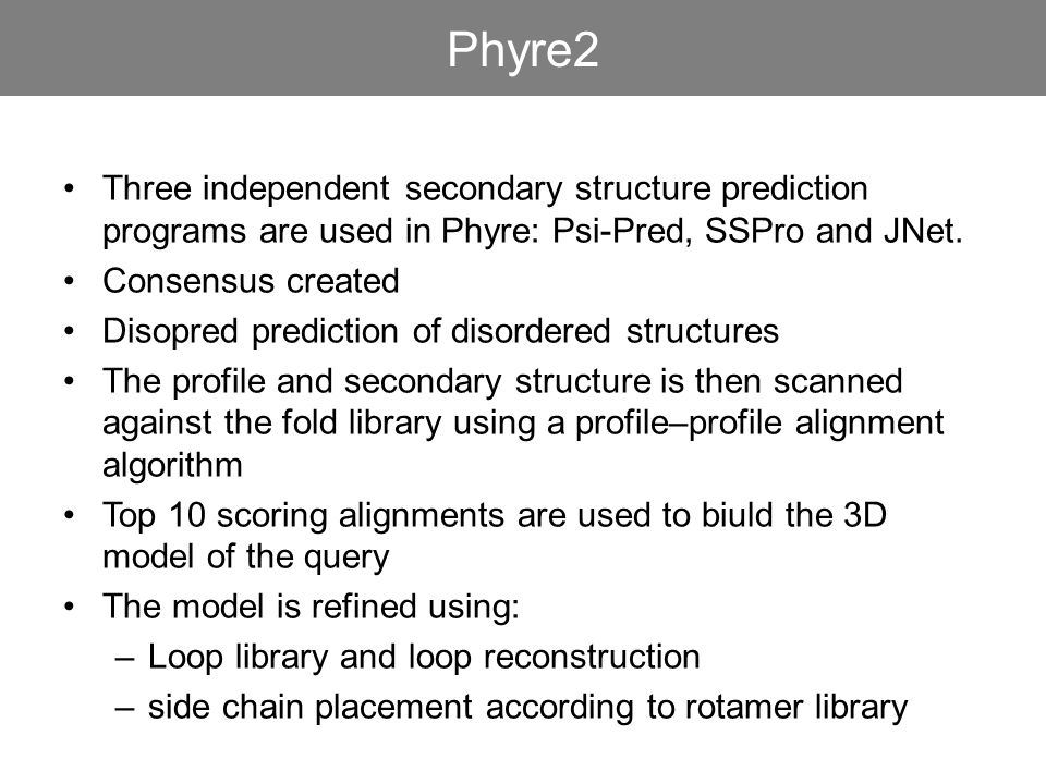 Three independent secondary structure prediction programs are used in Phyre: Psi-Pred, SSPro and JNet. Consensus created Disopred prediction of disord