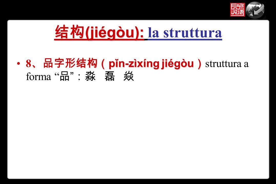 """结构 (jiégòu): 结构 (jiégòu): la struttura 结构( pǐn-zìxíng jiégòu )8 、品字形结构( pǐn-zìxíng jiégòu ) struttura a forma """" 品 """" :淼 磊 焱"""