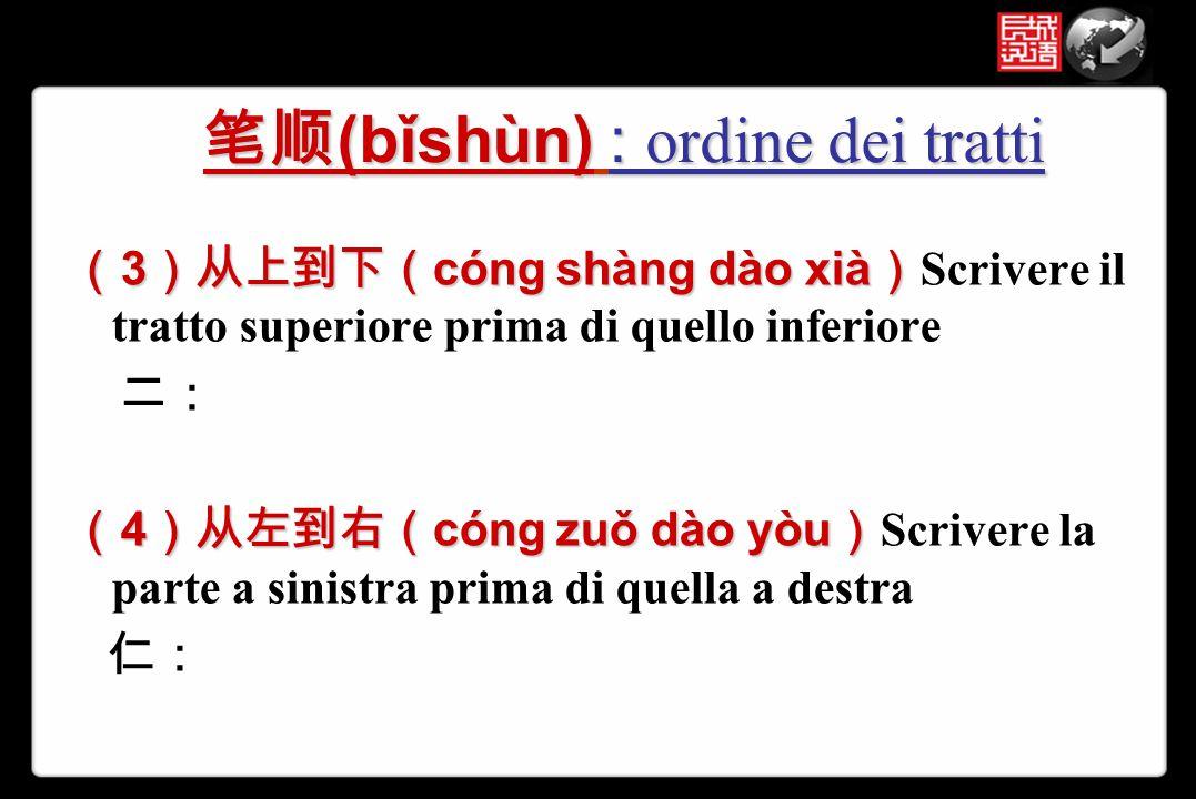 ( 3 )从上到下( cóng shàng dào xià ) ( 3 )从上到下( cóng shàng dào xià ) Scrivere il tratto superiore prima di quello inferiore 二: ( 4 )从左到右( cóng zuǒ dào yòu
