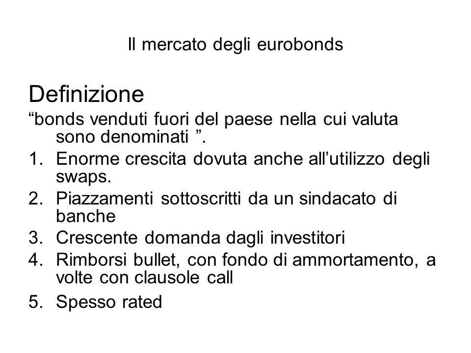 Il mercato degli eurobonds Definizione bonds venduti fuori del paese nella cui valuta sono denominati .