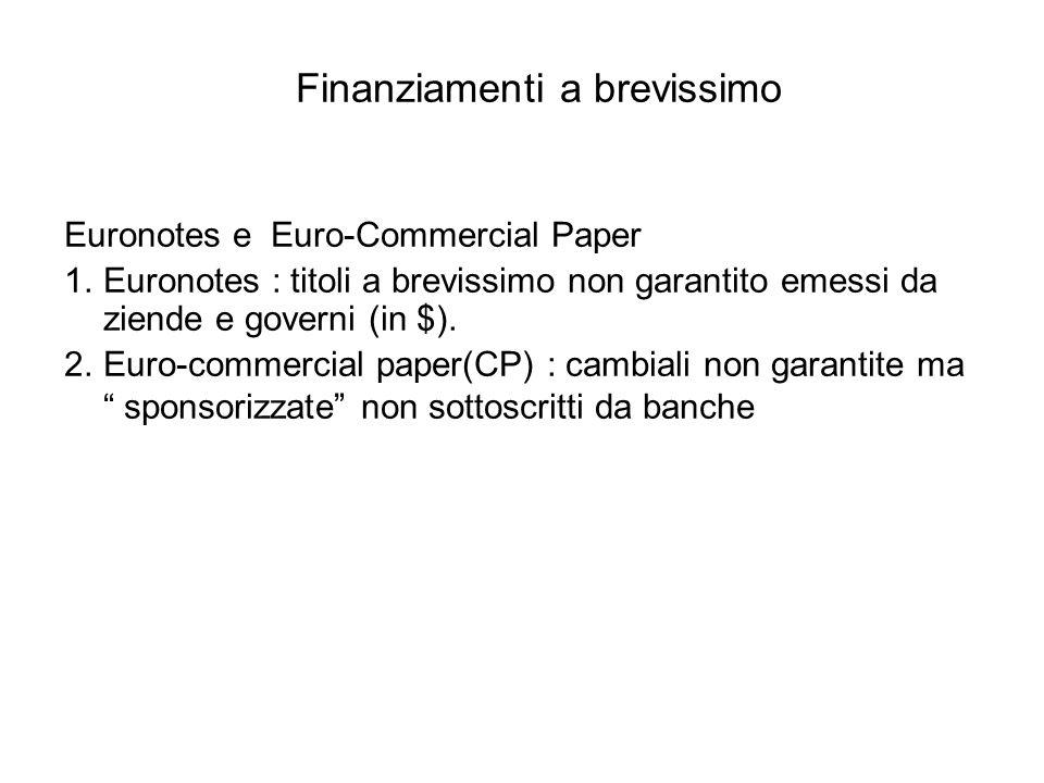 Finanziamenti a brevissimo Euronotes e Euro-Commercial Paper 1.Euronotes : titoli a brevissimo non garantito emessi da ziende e governi (in $).