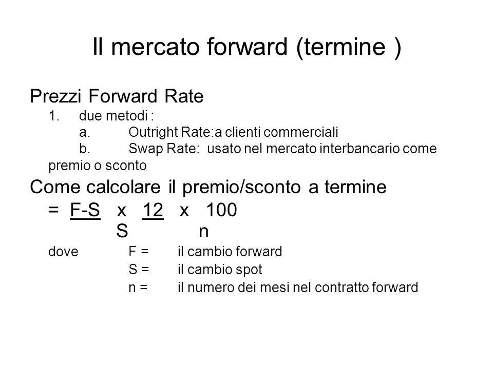 Il mercato forward (termine ) Prezzi Forward Rate 1.