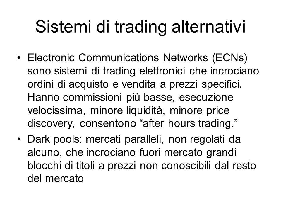 Sistemi di trading alternativi Electronic Communications Networks (ECNs) sono sistemi di trading elettronici che incrociano ordini di acquisto e vendita a prezzi specifici.