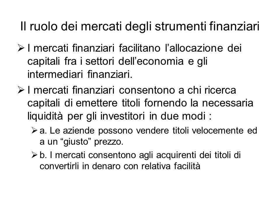 Il ruolo dei mercati degli strumenti finanziari  I mercati finanziari facilitano l'allocazione dei capitali fra i settori dell'economia e gli intermediari finanziari.