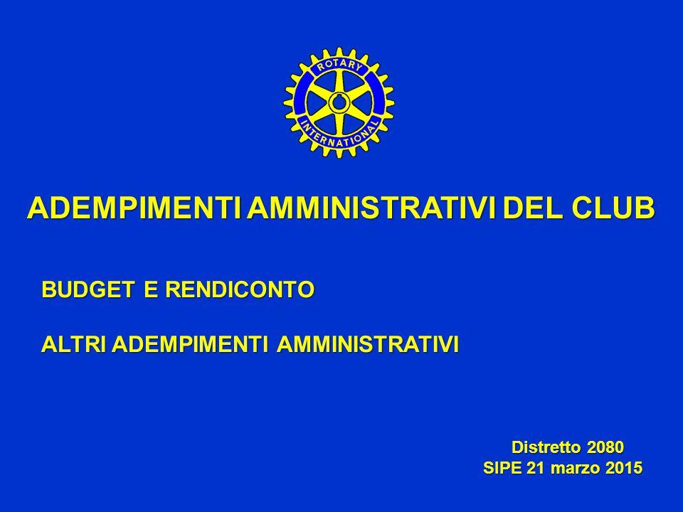 ADEMPIMENTI AMMINISTRATIVI DEL CLUB BUDGET E RENDICONTO ALTRI ADEMPIMENTI AMMINISTRATIVI Distretto 2080 Distretto 2080 SIPE 21 marzo 2015