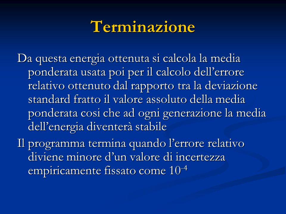 Terminazione Da questa energia ottenuta si calcola la media ponderata usata poi per il calcolo dell'errore relativo ottenuto dal rapporto tra la devia