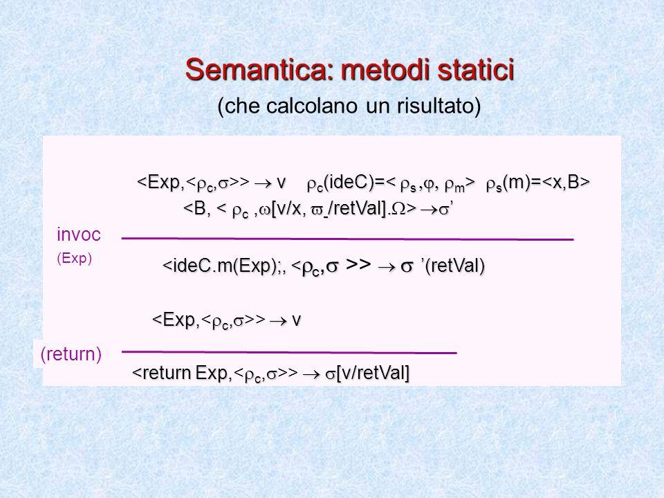  s (m)= >  v  c (ideC)=  s (m)=  '  ' >   '(retVal) >  v >   [v/retVal] (return) Semantica: metodi statici (che calcolano un risultato) invoc (Exp)