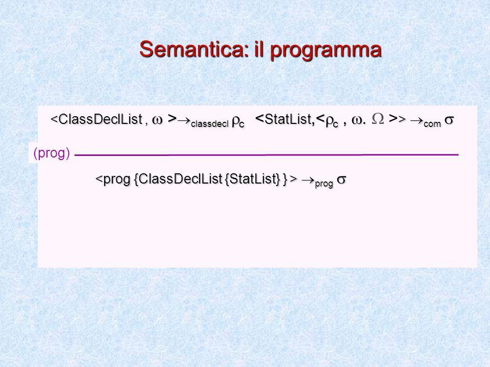  classdecl  c  com   classdecl  c >  com   prog   prog  (prog) Semantica: il programma