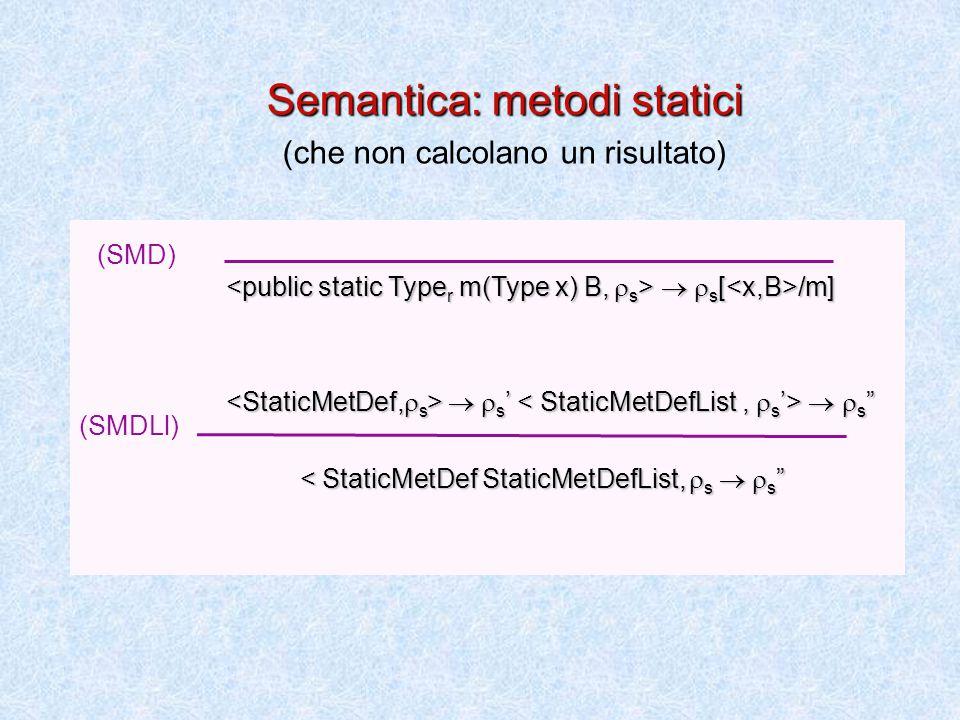   s [ /m]   s [ /m]   s '   s   s '   s < StaticMetDef StaticMetDefList,  s   s < StaticMetDef StaticMetDefList,  s   s (SMD) (SMDLl) Semantica: metodi statici (che non calcolano un risultato)