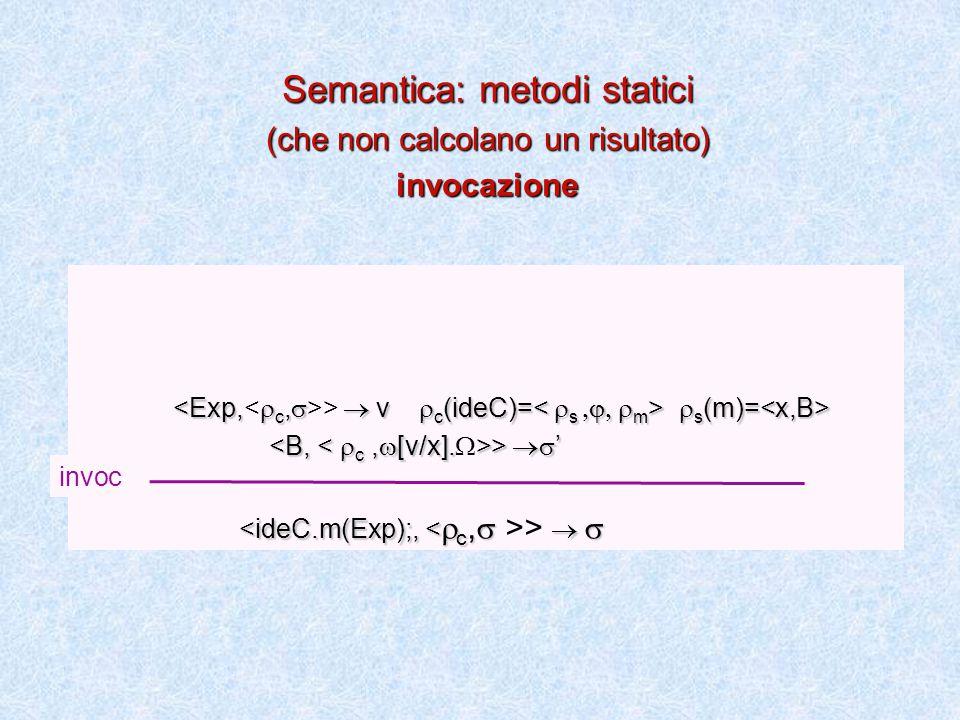  s (m)= >  v  c (ideC)=  s (m)= >  ' >  ' >   Semantica: metodi statici (che non calcolano un risultato) invocazione invoc