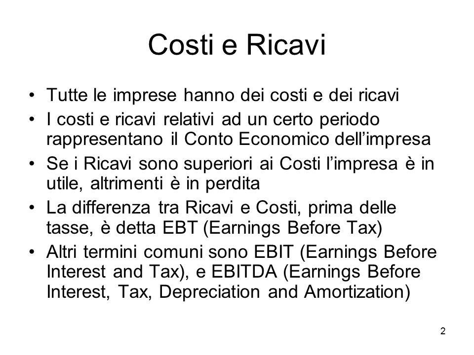 2 Costi e Ricavi Tutte le imprese hanno dei costi e dei ricavi I costi e ricavi relativi ad un certo periodo rappresentano il Conto Economico dell'imp