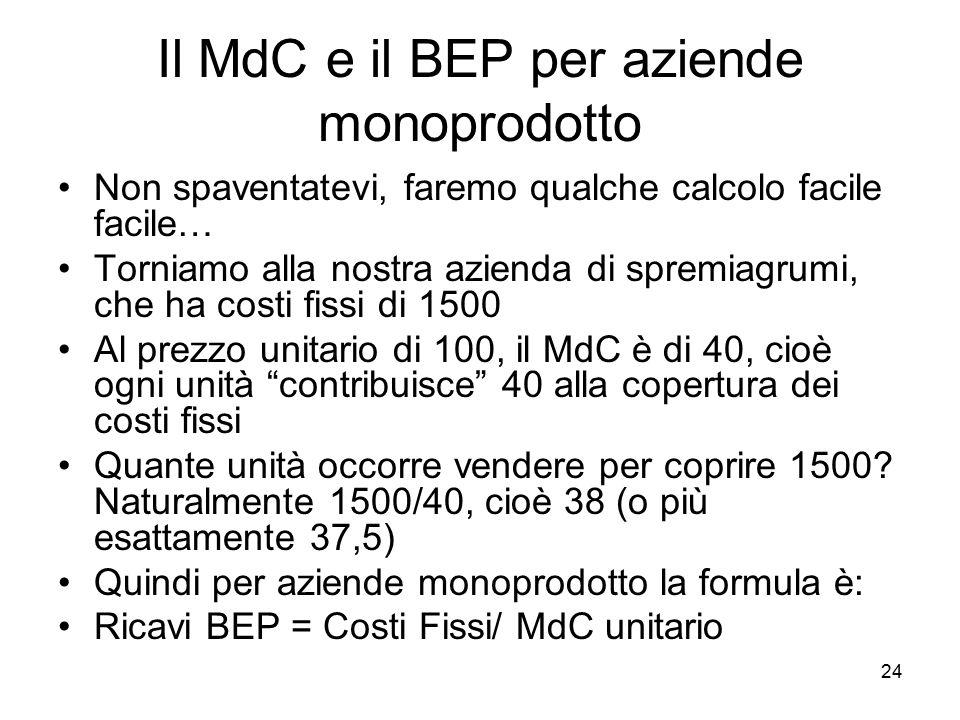 24 Il MdC e il BEP per aziende monoprodotto Non spaventatevi, faremo qualche calcolo facile facile… Torniamo alla nostra azienda di spremiagrumi, che